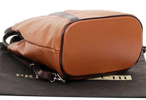 Storage Leather Bag Napa Soft Tan Italian Branded Primo Rucksack Sacchi® Bag Brown Backpack amp; Handle Shoulder Protective Includes Top Dark AwqpW6WI