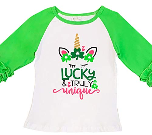 Little Girl Kids Unicorn Lucky Truly Unique Clover Shirt Top Tee T-Shirt Red White Green 6 XL (318626)