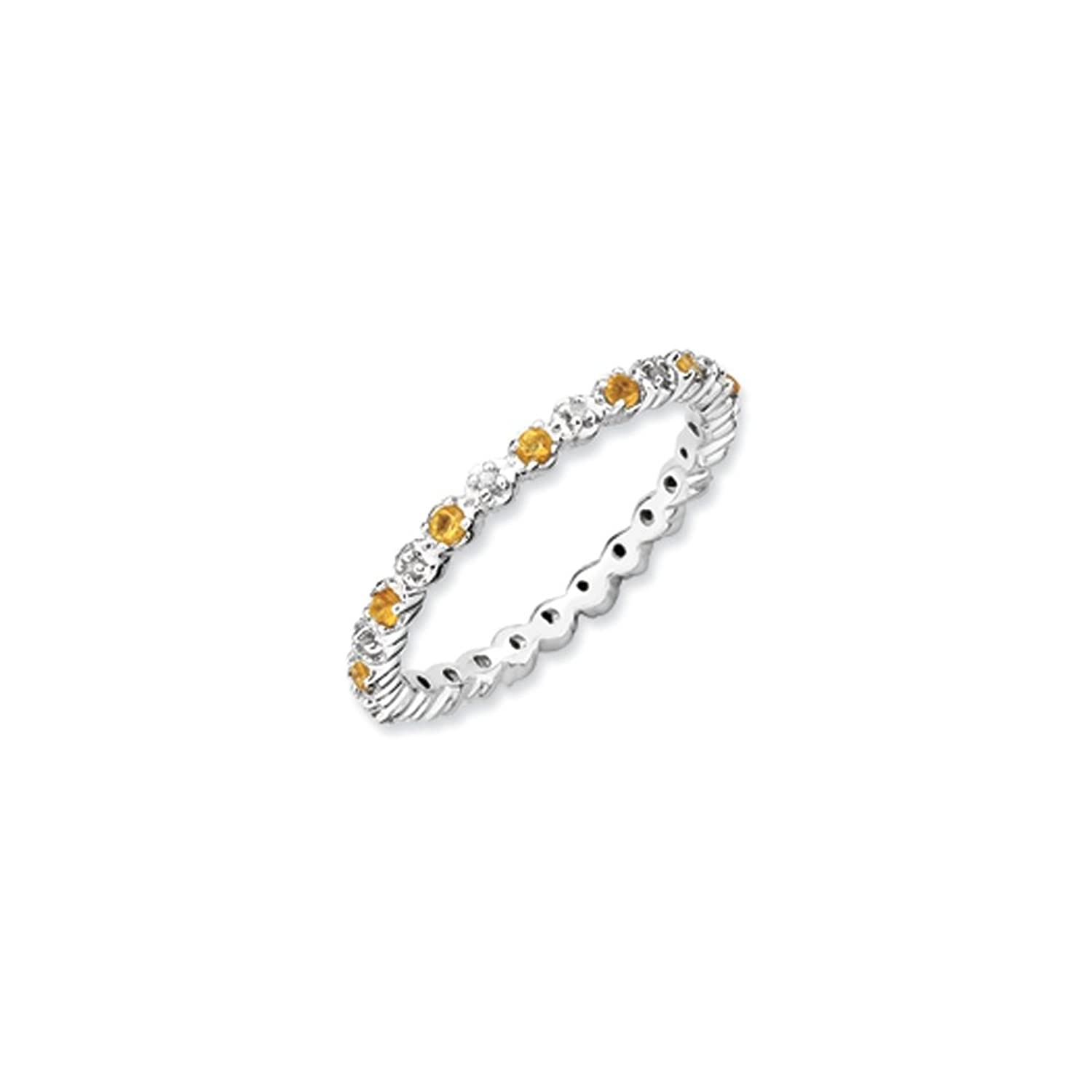 2.25mm Stackable Citrine & .04 Ctw HI/I3 Diamond Silver Band