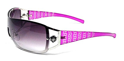 Kleo Lion Head Medallion Greek Key Wrap Around One Piece Sunglasses (Purple & Silver, Black Gradient)