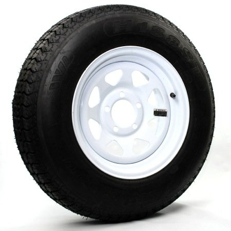 eCustomRim Two Trailer Tires & Rims ST205/75D15 F78-15 205/75-15 15″ LRC 5 Lug White Spoke