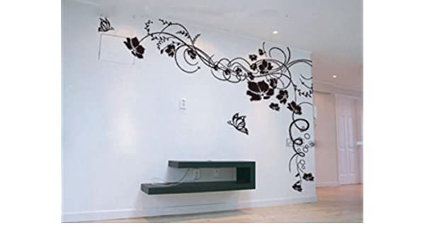 59,94 cm X 59,94 cm de flores y mariposas pared Art Decor DIY vinilo adhesivo Mural para decorar la (negro): Amazon.es: Bricolaje y herramientas