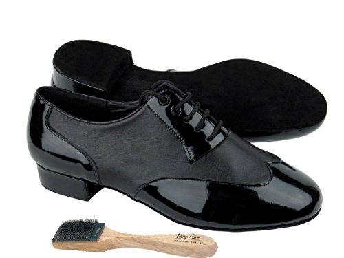 """Herren Ballroom Dance Schuhe von Very Fine CM100101 mit Schuhbürste 1 """"Heel Schwarzes Patent und schwarzes Leder"""