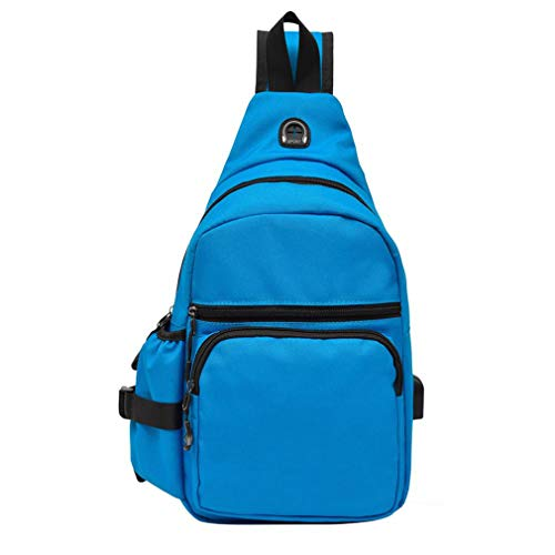 Strap Single Crossbody Casual Canvas Female With Shoulder Men Usb Chest Unisex Travel Pack Blue Port Bag 0YqpawB