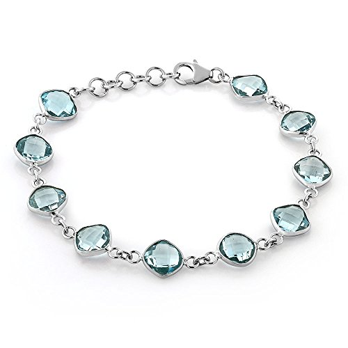 Gem Stone King Blue Topaz 925 Sterling Silver Gemstone Birthstone 23.00 Cttw 9MM Cushion Cut 7 Inch Bracelet with 1 Inch Ext