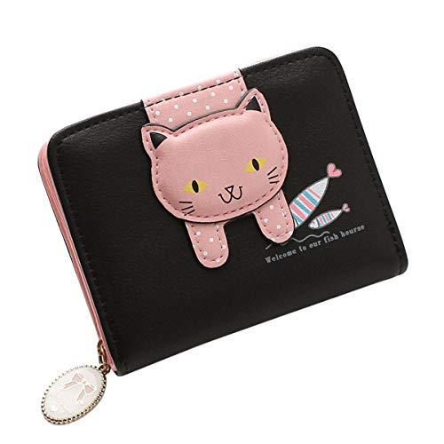 HeySun Women's Adorable Small Wallet Cat Ears Coin Purse Money Clip Designer Card Case (Black02)