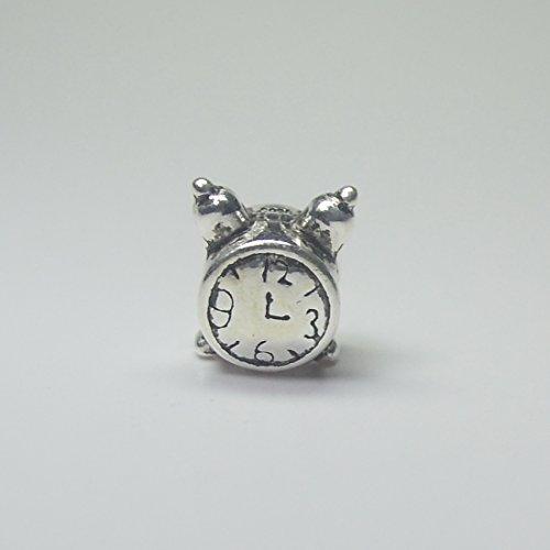 (925 Sterling Silver Alarm Clock Bead For European Charm Bracelets Cute Clock)