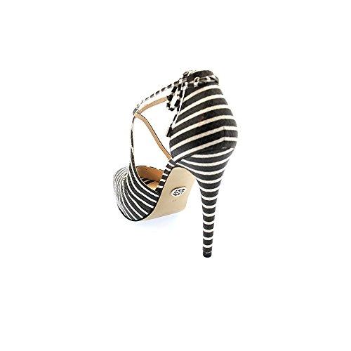 para Guess Colores Varios de Bianco Zapatos Strisce vestir mujer Nero CCHA1tqrn