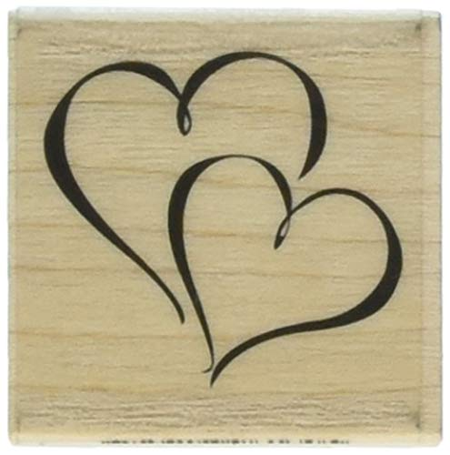Inkadinkado Two Hearts Wood Stamp for Card Decorating and Scrapbooking, 1 Piece 1.75