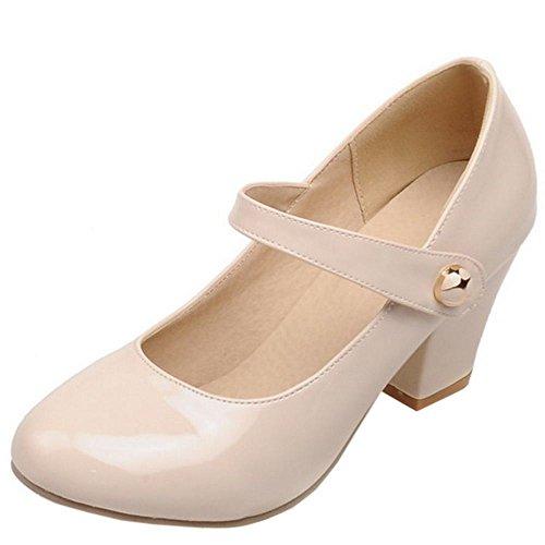 TAOFFEN Tacco Velcro Davanti Col Alto Scarpe Donna Mary Chiuse Moda Blocco Jane beige F0wxqFZrz