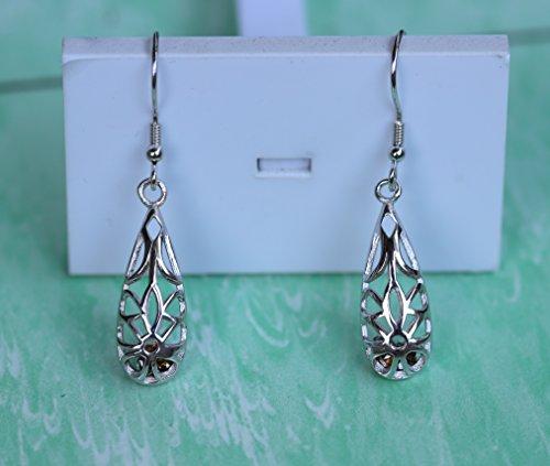 925 Sterling Silver Hoops Filigree Dangle Earrings for Women (Brown) by Politeny (Image #1)'