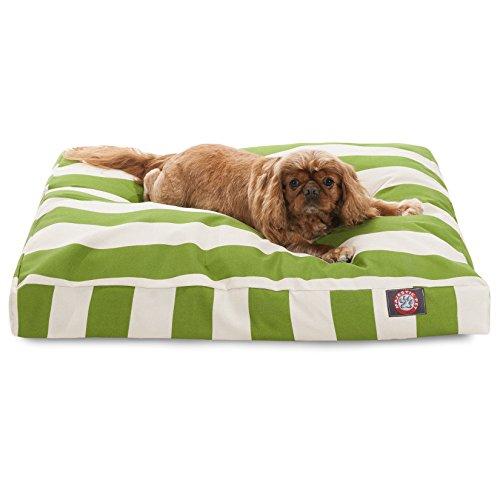 Sage Vertical Stripe Medium Rectangle Pet Bed