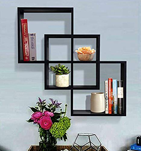SHELVING SOLUTION Quadrate Decorative Wall Shelf (Black)