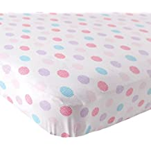 Luvable Friends Fitted Knit Cotton Crib Sheet Crosshatch Dot, Pink