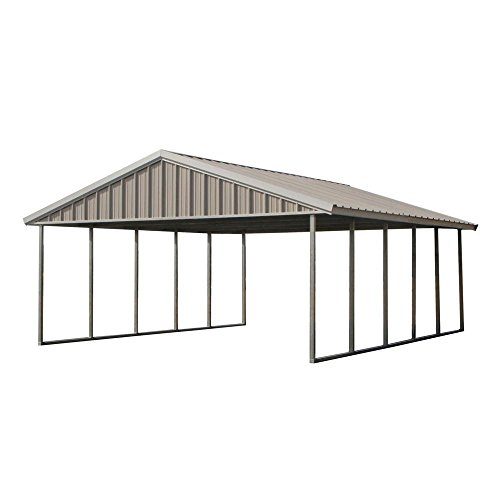 PWS Premium Canopy 20 ft. x 24 ft. Ash Grey and Polar White All Steel Carport Structure with Durable Galvanized Frame by PWS