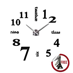 DIY Wall Clock | Modern Mute 3D Frameless Large Wall Watches for Room Home Office Decorations | Crystal Acrylic Mirror Sheet with Self Adhesive and Strong Sticking | Key Chain Inside | Black | 623.6
