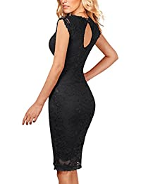 Floral Lace Back Strap Bodycon Cocktail Party Dress For Women