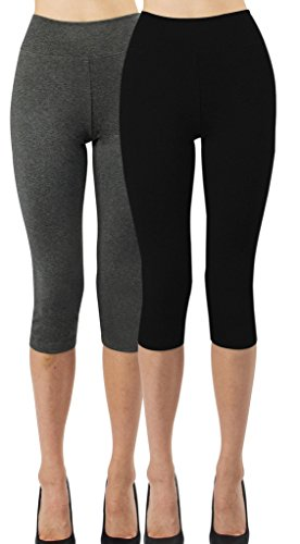 iLoveSIA 2PACK Women's Tights Capri 3/4 Leggings US Size L Black+Dark Grey