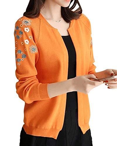 Donna Autunno Cappotto marca Maglia Forcella Casual Color Arancia Size XL Maniche Lunghe Fashion Knit Fiori Ricamo Cardigan Giacca A A Elegante BOLAWOO Maglia di Mode Pullover Aperto A qwtX7g1