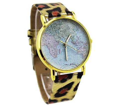 OSS®Estudiante de la correa de cuero reloj de los relojes de cuarzo para los hombres y mujeres de la sección de mapa del mundo-Leopard: Amazon.es: Relojes