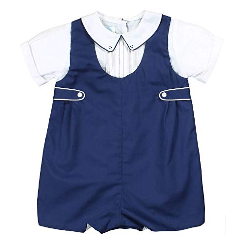 Petit Ami Baby Boys' Shortall with Pintucks and Side Tabs, 6 Months, ()