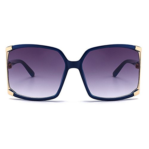 New Women's Oversized Square sunglasses Protection eye glasses Goggles+Glasses Case (Navy Blue, As picture) (Newest Women Sunglasses For)