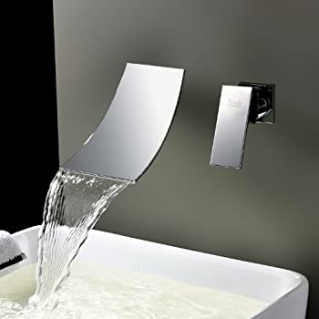 widespread waterfall bathtub mixer taps bath shower faucets single handle two holes wall mount curve