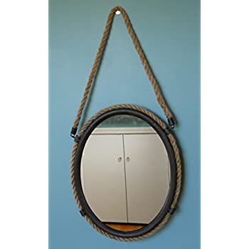Oval Metal Frame Mirror With Rope Accent~ Nautical Wall Decor