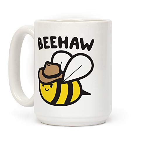 LookHUMAN Beehaw Cowboy Bee White 15 Ounce Ceramic Coffee Mug