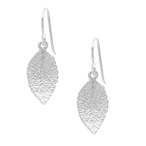 Silverly Women's .925 Sterling Silver Satin Finish Textured Leaves Leaf Dangle Earrings ()