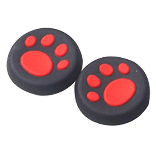Clearance ! ღ Ninasill ღ Exclusive 1 Pairs Cat's Paw Silicone Gel Thumb Grips Caps For Nintendo Switch Controller (Red)