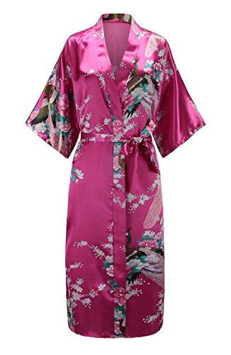 Petite Silk Gown - EPLAZA Women Peacock Satin Long Bridal Kimono Robe Bridesmaid Sleepwear Wedding Dressing Gown (Rose red, 1)