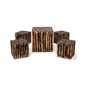 Onlineshoppee bloque de madera wooden square coffee table with 4 stool