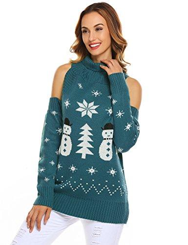 Soteer Women Turtleneck Cut Out Cold Shoulder Sweater Ribbed Knit Pullover (Cold Shoulder Turtleneck)