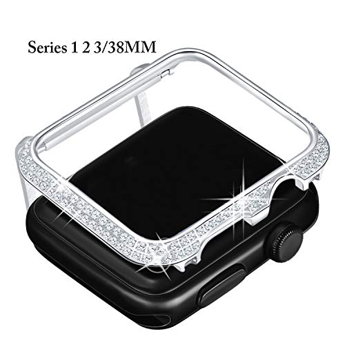 Callancity Metal Rhinestone Diamond Crystal Jewelry Bezel face Cover Case Decorative Compatible With Apple Watch 38mm Series 1 2 3 (Platinum)