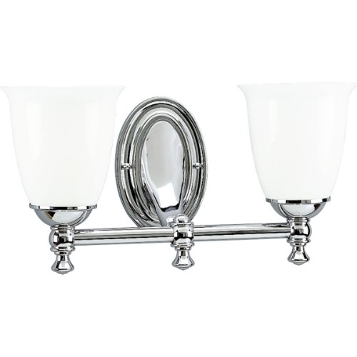 Progress Lighting P3028-15 2-Light Bath Bracket with White Opal Glass, Polished Chrome