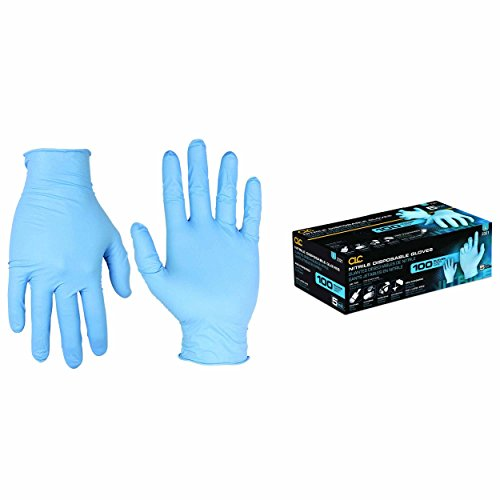raft - Super Strong Blue Pre-Powder Nitrile Disposable Gloves For General Purpose Tasks, 5 Mil, Large, 100-Pair - 2321 (Clarino Leather)