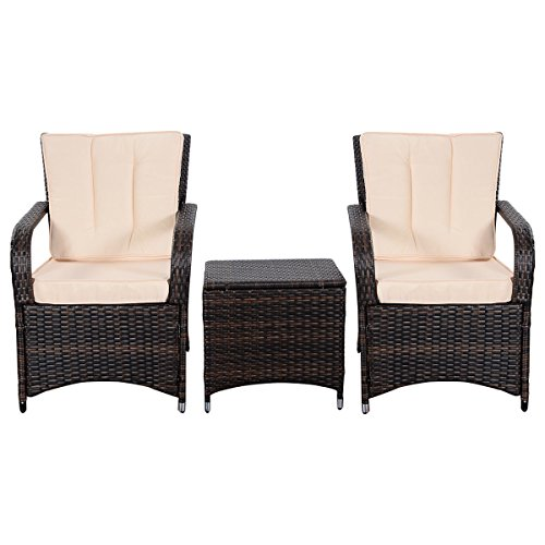 Tangkula 3 PCS Outdoor Patio Sofa Sets Rattan Furniture Two Arm Chairs and Ende Table (Discount Wicker Chairs)