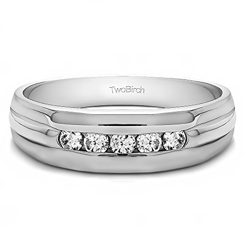 - TwoBirch 0.5 Ct. Cubic Zirconia Five Stone Channel Set Men's Wedding Ring with Ribbed Design in Sterling Silver (Size 13)