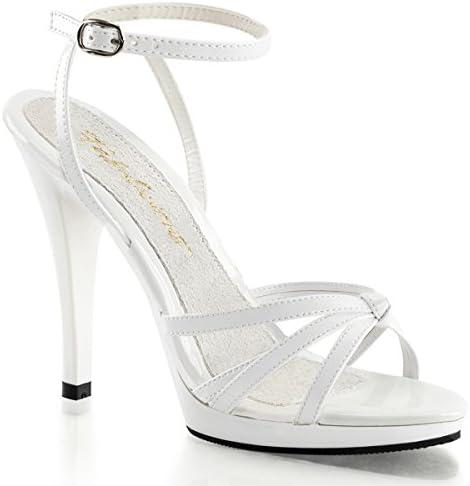 Higher-Heels PleaserUSA Damen Sandaletten Flair-436 Lack weiß Brautschuhe Hochzeit Heirat