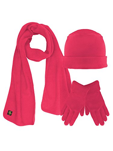 Hot Pink 3 Piece Fleece Hat Scarf & Glove Matching Set