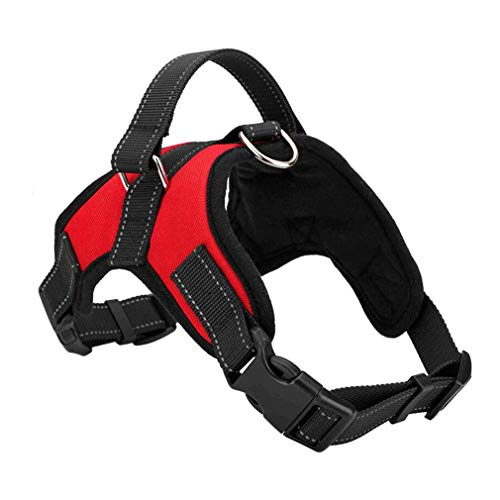 Dog Leash Pet Lead Harnesses - Pet Climbing Leash Sturdy Oxford Nylon Cloth Comfortable Safety Adjustable Padded Handle Red (Size : XL)