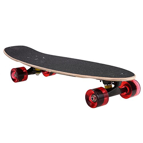 (Evokem 27inch Cruiser Skateboard, Wooden Deck Style Complete Longboard, Outdoor Fun Stitching Color Skate Board with Smooth PU Wheels for Adults, Teens, Kids (Black))