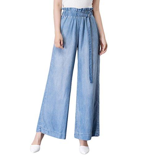 Xinwcanga Mujer Verano Casual Rectos Cintura Alta Flojos Pantalones Mezclilla de Pierna Ancha Luz Azul