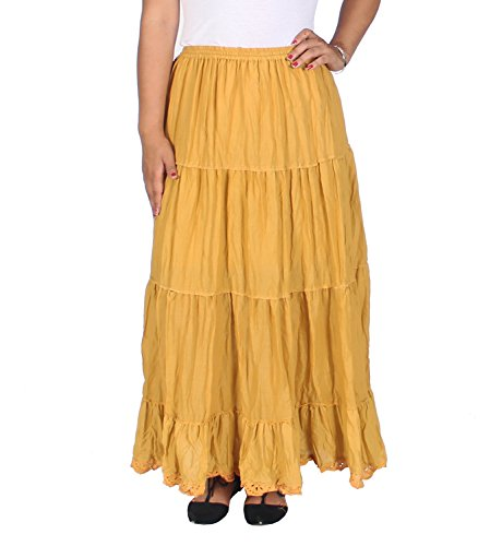 KayJayStyles Solid Hippie Gypsy Bohemian Full Circle Ruffle Maxi Long Cotton Skirt (Golden Yellow)