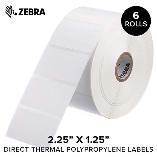 Zebra - 2.25 x 1.25 in Direct Thermal Polypropylene Labels, PolyPro 4000D Permanent Adhesive Shipping Labels, Zebra Desktop Printer Compatible, 1 in Core - 6 Rolls
