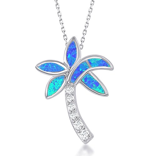 Tree Palm Silver Sterling Inspired (Sterling Silver Created Blue Opal & CZ Palm Tree Pendant with 18