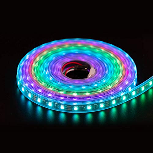 FAVOLCANO 5m/16.4ft 300LEDS WS2811 LED Light Strip, Programmable and Individually Addressable, 5050 RGB LED Rope Waterproof IP67 Black PCB