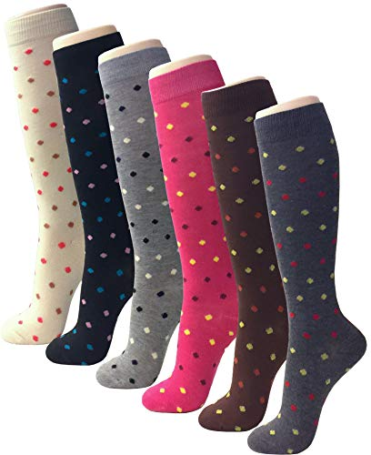 6 Pairs Knee High for Women Casual Fun Fashion Socks Comfortable Soft Lightweight Fancy Print Multi Color Patterned (One Size, SCK01 Dot SM)