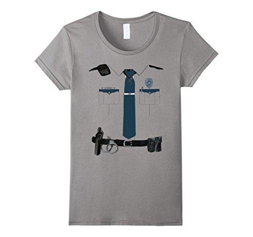 Women's Police Cop Uniform Boys and Girls Halloween Costume T-Shirt Small Slate (Cop Uniform Halloween)